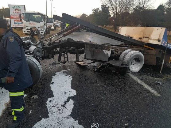 Diesel oil has spilled on the road