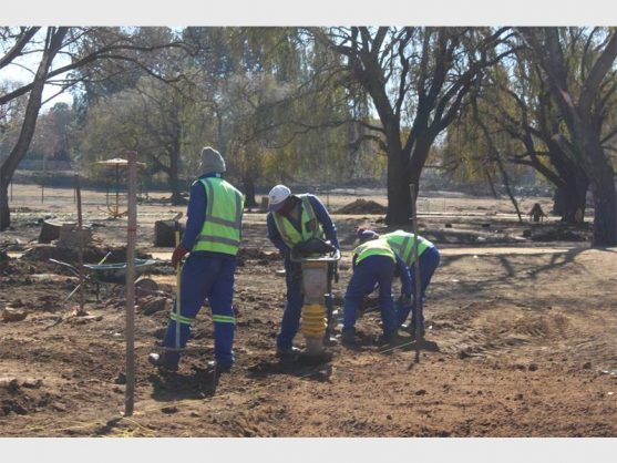 Workers busy with a revamp project at the Bunny Park. Picture: Benoni City Times