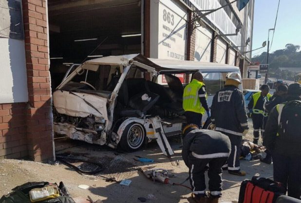 At least 18 people, including two infants, were injured when a minibus taxi collided with a car and then smashed into a wall in Briardene in Durban on Saturday morning. Photo: Crisis Medical