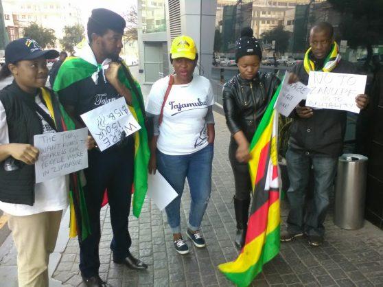 Tajamuka/Sesijikisile members outside Radisson Blu Hotel Sandton: