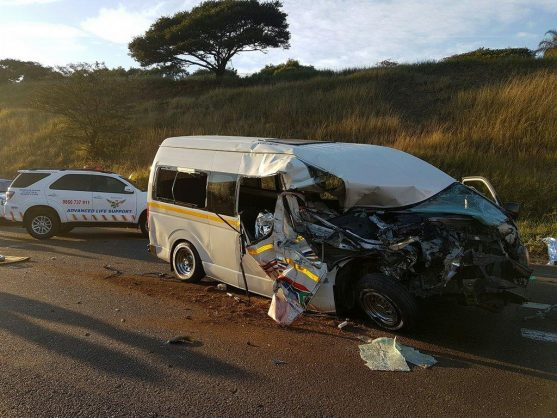 June 10 - Four people died and at least 14 others were injured when a minibus taxi and a truck collided on the N2 southbound near the Jan Smuts Highway bridge in Durban on Saturday morning. Photo: Rescue Care