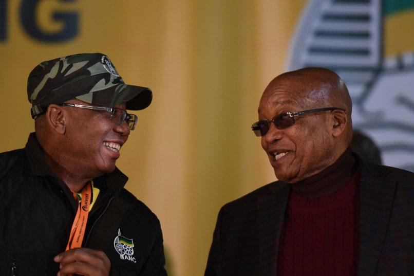 MKMVA President, Kebby Maphatsoe and South African President, Jacob Zuma during the uMkhonto WeSizwe Military Veterans Association (MKMVA) 5th National Conference held at the Birchwood conference center in Boksburg, 9 June 2017.  Picture: Neil McCartney