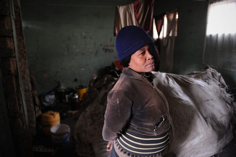 The evictions earlier this month initiated by Prasa and executed by the Red Ants saw 16 people hospitalised. The ownership of the land is contested by the residents and Prasa. Sonto Buyambo is a recycler and also produces decorative cushions to earn a living. She has suffered greatly through evictions over the years, the most recent of which saw her daughter Phumzile having to leave and stay elsewhere with friends. Picture: Michel Bega