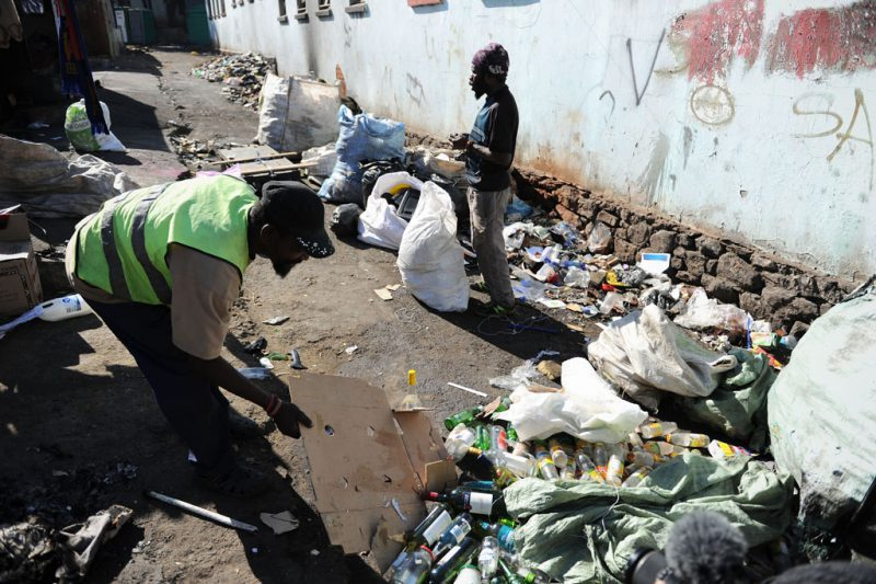 With many members of the community working as recyclers, Nhlanhla is looking towards starting an NPO on the premises to provide basic service delivery and recycling services in the future and a possible materials recovery facility. Many of the materials collected for recycling were trashed or stolen during the eviction. Community members are rebuilding their stocks, which are collected from all across the city. Picture: Michel Bega