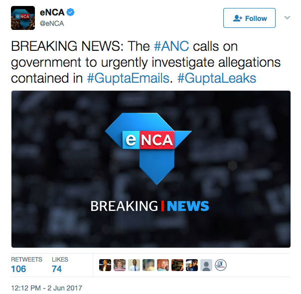 eNCA stap about ANC calling government to urgently investigate allegations contained in #GuptaEmails #GuptaLeaks Courtesy: eNCA