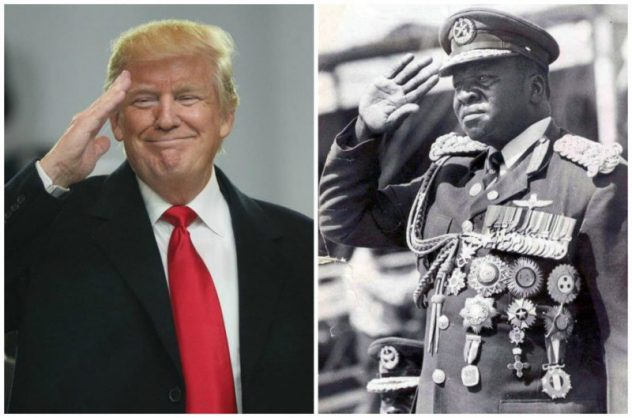 S President Donald Trump and African dictator Idi Amin - different, but the same. EPA and Reuters