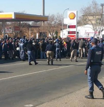 Protestors on Tom Jones Street. Picture: Benoni City Times
