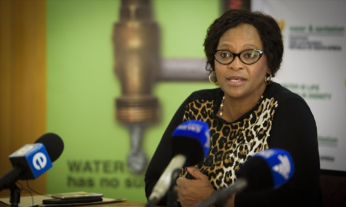Water and Sanitation Minister Nomvula Mokonyane addresses the media during an update on the status of the country's water and the recent drought at the Vaal Dam on February 26, 2017 in Johannesburg, South Africa. (Photo by Gallo Images / Beeld / Lisa Hnatowicz)