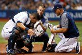 WATCH: Ouch! Catcher needs staples after broken bat cuts him