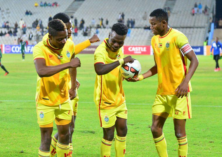 Knox Mutizwa of Zimbabwe celebrates a goal with teammates during 2017 Cosafa Castle Cup match between Lesotho and Zimbabwe at Moruleng Stadium. (Samuel Shivambu/BackpagePix)