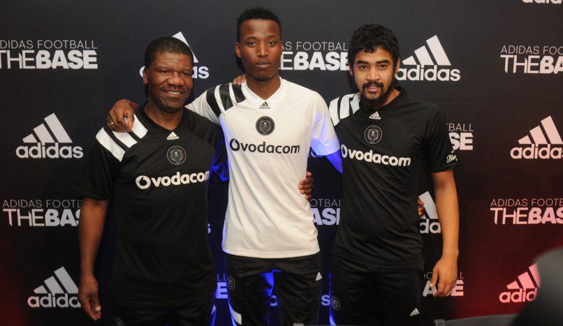 Jerry Skhosana, Thamsanqa Sangweni and Abbubakar Mobara during the Orlando Pirates Jersey Launch at Adidas Base. (Sydney Mahlangu /BackpagePix)