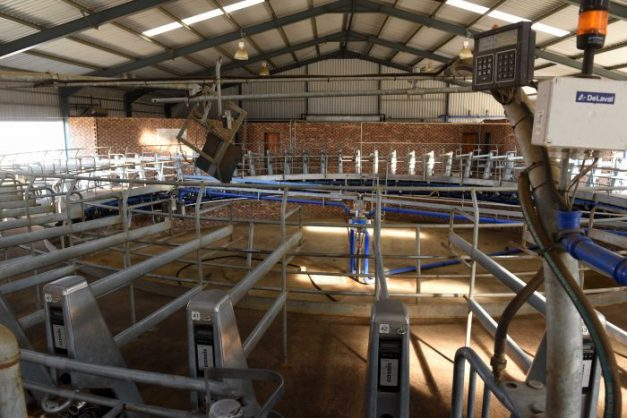 High tech milking equipment during a site visit by the leader of the DA, Mmusi Maimane to the Vrede Dairy farm that was run by Gupta company Estina, 12 July 2017. It was intended to benefit the communiy but has been alleged to be a front for money laundering and also alleged to have been the source of funds for the Gupta wedding. Picture: Neil McCartney
