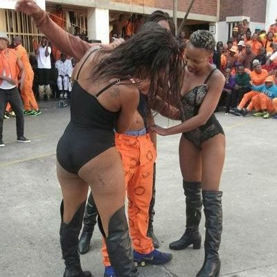 Dumisani Ximbi frowns upon the behaviour of the Johannesburg Medium B Prison inmates and officials as they indulge the entertainment of a Youth Month event.