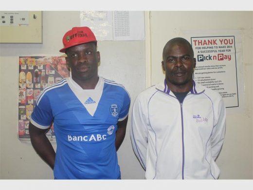 EFF Chief Whip Sepetlele Raseruthe and Fawu shop steward Godfrey Moleko.Picture: Welisa Nene