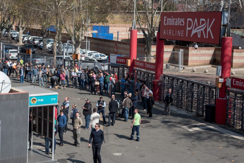 Rugby fans queue to purchase tickets for this weekends Super Rugby final tickets at Ellis Park Stadium in Johannesburg on 31 July 2017. It is said that 45 000 tickets have been sold already for the final between the Lions and Crusaders. Picture: Yeshiel Panchia