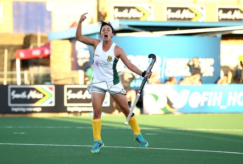 Candice Manuel celebrates one of her goals.  Photo: Jan Kruger/Getty Images for FIH.