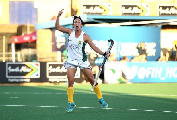 Candice Manuel celebrates one of her goals.  Photo: Jan Kruger/Getty Images for FIH.