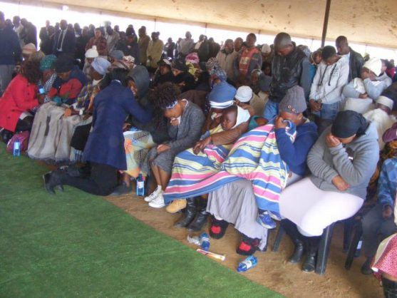 People in Machadodorp, Mpumalanga, on Friday, during a memorial service of 18 people who died in a road accident earlier this week. PHOTO: ANA Reporter