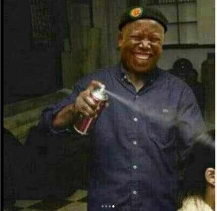 Julius Malema enjoying his job as a hairdresser. Picture: Instagram.