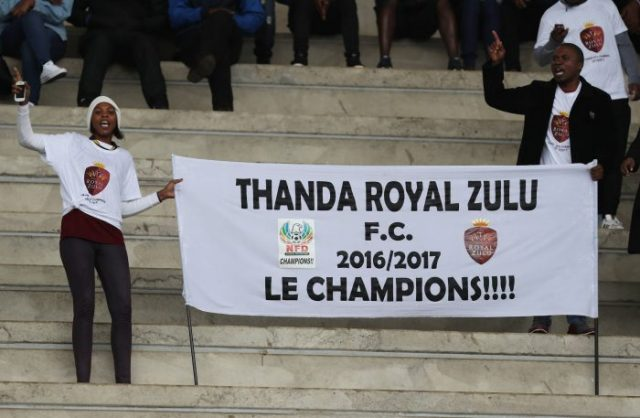 Thanda Royal Zulu fans at Sugar Ray Xulu Stadium. (Photo by Steve Haag/Gallo Images)