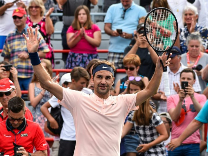 Roger Federer of Switzerland celebrates his victory over David Ferrer of Spain during day seven of the Rogers Cup presented by National Bank at Uniprix Stadium on August 10, 2017 in Montreal, Quebec, Canada