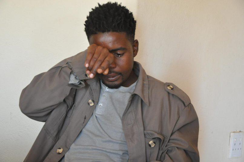 Obakeng Mathews speaking to African News Agency at his home in Phokeng.