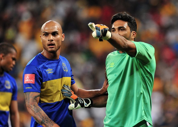 Robyn Johannes with goalkeeper Shu-aib Walters of Cape Town City (Ryan Wilkisky/BackpagePix)