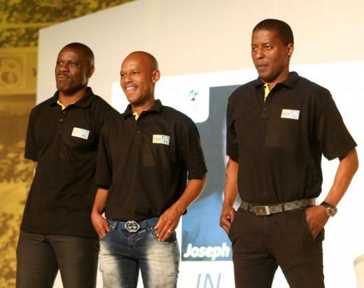 Lucky Lekgwathi, Jabu Mahlangu and Sibusiso Zuma during 2017 MTN8 Launch in Sandton. (Muzi Ntombela/BackpagePix)