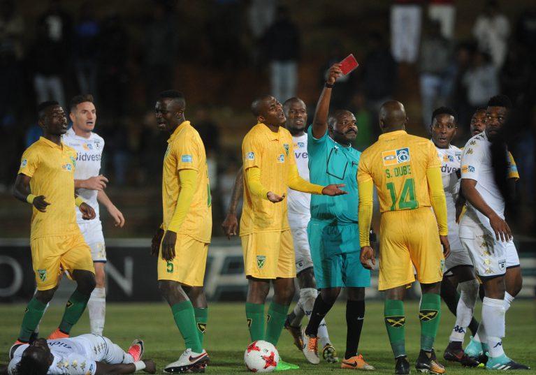 Siyabonga Dube of Golden Arrows being sent off during the MTN8 quarterfinal match between Bidvest Wits and Golden Arrows at Bidvest Stadium. (Sydney Mahlangu /BackpagePix)