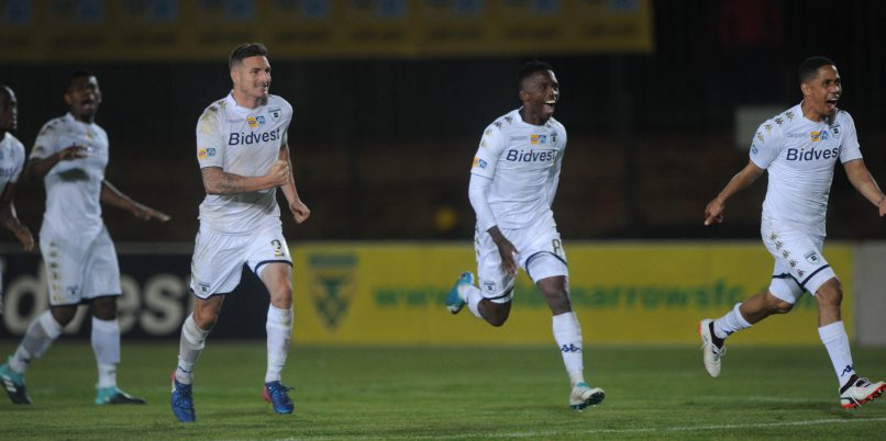 Bidvest Wits celebrates a victory over penalties during the MTN8 quarterfinal match between Bidvest Wits and Golden Arrows at Bidvest Stadium. (Sydney Mahlangu /BackpagePix)