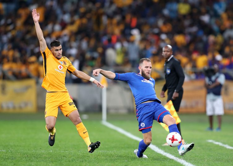 Jeremy Brockie is challenged by Lorenzo Gordhino during the MTN8 match between Kaizer Chiefs and Supersport United at Moses Mabhida Stadium. (Muzi Ntombela/BackpagePix)