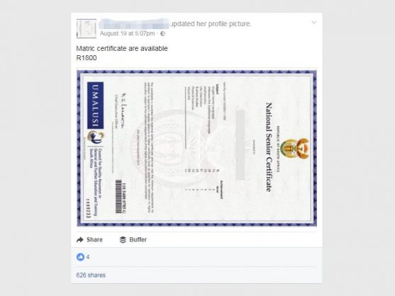 a screen grab of a seemingly brazen national senior certificate counterfeiters offer on facebook