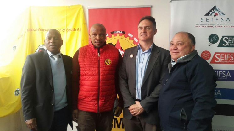 Kaizer Nyatsumba the CEO of Steel and Engineering Industries Federation of Southern Africa, Numsa General Secretary Irvin Jim, Marius Croucamp the head of industry at Solidarity and Edward van Ryneveld, chair of Light Engineering Association of SA.