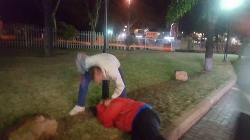 A man attacking another at a KFC drive-through in Montana, Pretoria. Image: Facebook