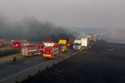Three burn to death in 17-vehicle pile-up on the N3 near Heidelberg
