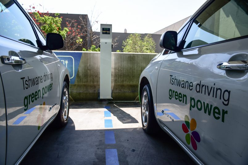 Charging ports are seen at the Menlyn Shopping Mall during the Greenmile event, 30 August 2017, Pretoria. Picture: Jacques Nelles