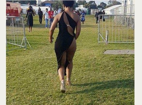 Zodwa Wabantu's super-revealing Durban July dress. Picture: Twitter