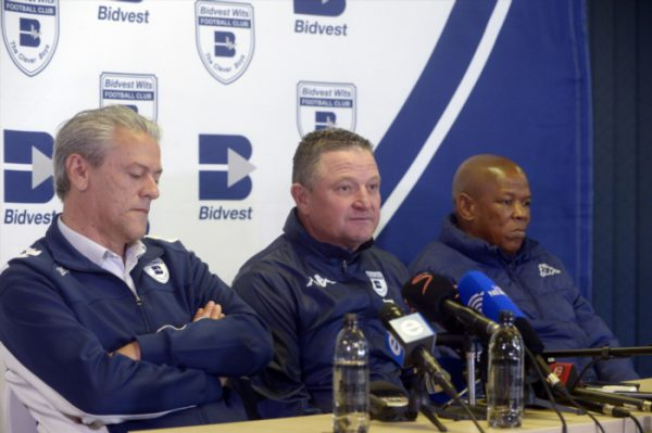 Coach Gavin Hunt of Wits with CEO Jose Ferreira and George Mokgotsi of Wits during the Bidvest Wits press conference. (Photo by Sydney Seshibedi/Gallo Images)