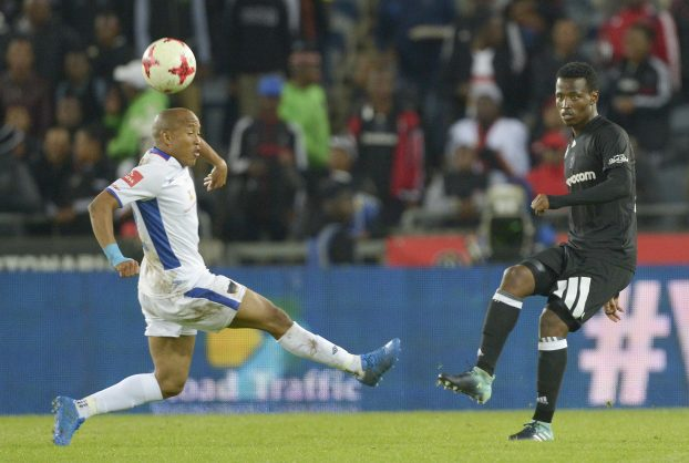 JOHANNESBURG, SOUTH AFRICA - AUGUST 19: Thamsanqa Sangweni of Orlando Pirates and Kurt Lentjies of Chippa United during the Absa Premiership match between Orlando Pirates and Chippa United at Orlando Stadium on August 19, 2017 in Johannesburg, South Africa. (Photo by Sydney Seshibedi/Gallo Images)