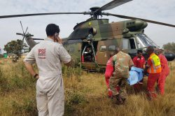 Air force chopper roped in to airlift injured schoolchildren