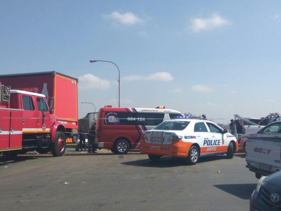 August 26 - One person was killed and a number of others were injured, some seriously, when a truck crashed into several vehicles in Devland, Soweto in Johannesburg on Saturday afternoon. Photo: ER24