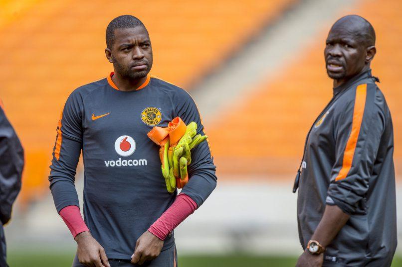 Itumeleng Khune and coach Steve Komphela of Kaizer Chiefs (Photo by Sydney Seshibedi/Gallo Images)