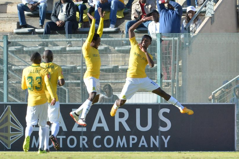 PRETORIA, SOUTH AFRICA - AUGUST 19: Percy Tau and Themba Zwane celebrates during the Absa Premiership match between SuperSport United and Mamelodi Sundowns at Lucas Moripe Stadium on August 19, 2017 in Pretoria, South Africa. (Photo by Lefty Shivambu/Gallo Images)