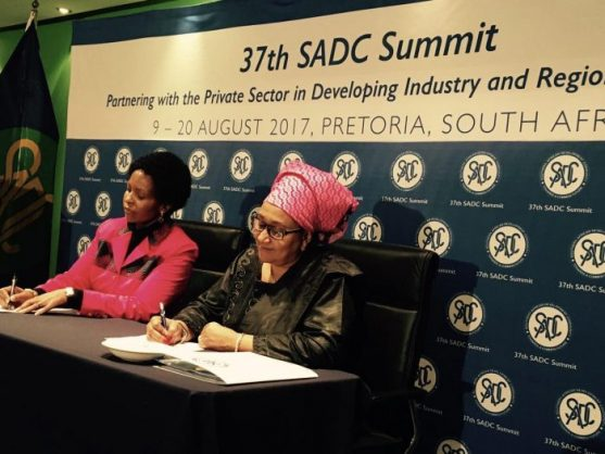 SA International Relations and Cooperation Minister, Maite Nkoana-Mashabane, and Executive Secretary of the SADC, Dr Stergomena Lawrence Tax, at a press briefing in Pretoria on Monday. PHOTO: ANA