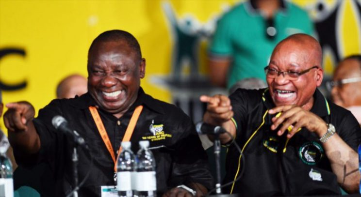 Newly elected leadership Cyril Ramaphosa and President Jacob Zuma share a joke with some of the delegates on Day 3 of the ANC Conference, which saw Jacob Zuma re-elected as ANC President on December 18, 2012, in Bloemfontein, South Africa. Cyril Ramaphosa was elected Deputy President, Gwede Mantashe Secretary General and Jesse Duarte as Deputy Secretary General. Picture: Gallo Images