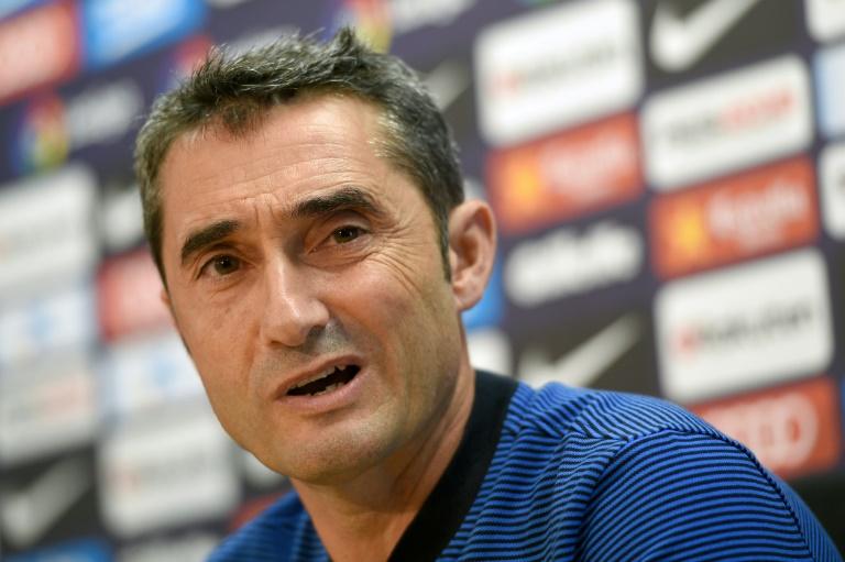Barcelona's coach Ernesto Valverde gives a press conference on September 8, 2017