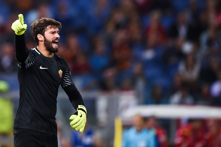 Roma goalkeeper Alisson Ramses Becker shouts instructions during the UEFA Champions League Group C football match between AS Roma and Atletico Madrid on September 12, 2017 at the Olympic stadium in Rome
