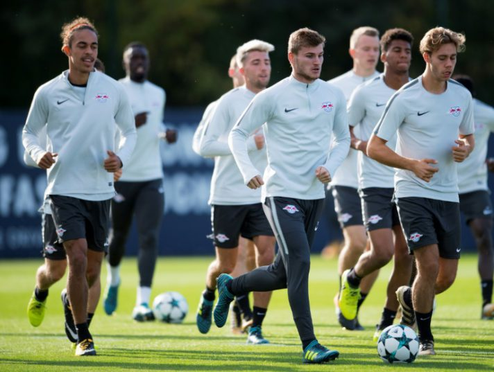 Leipzigs German forward Timo Werner (C) attends a training session on the eve of the UEFA Champions League football match against AS Monaco in Leipzig, eastern Germany on September 12, 2017