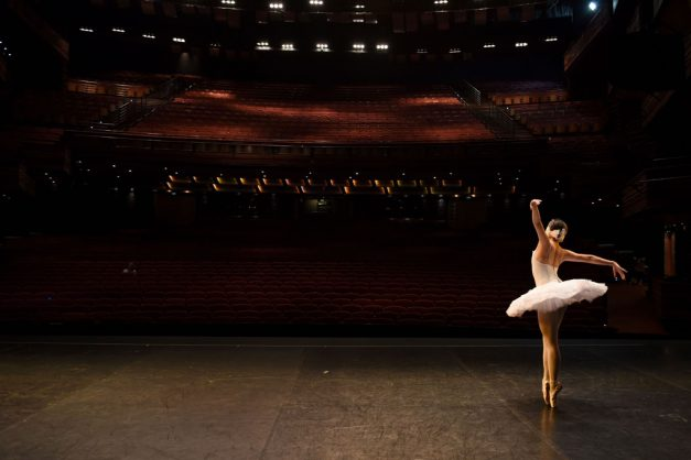 A ballet dancer from the Russian Ballet theatre dances on pointe after a full dress rehearsal for Swan Lake. Picture: Tracy Lee Stark