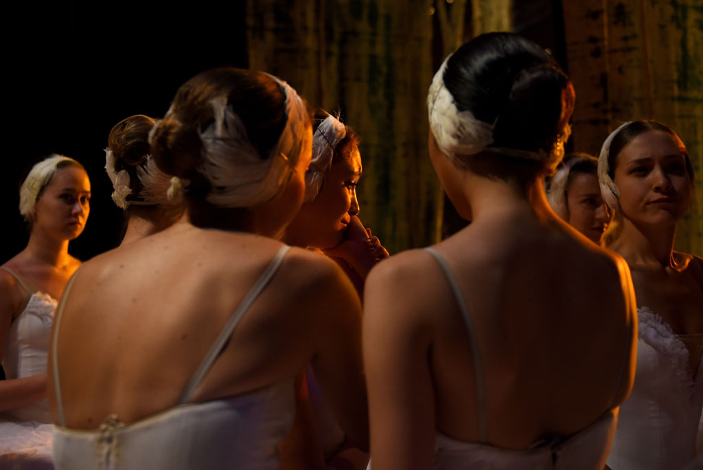 A ballet dancer cries after dancing in an act for Swan Lake. Picture: Tracy Lee Stark